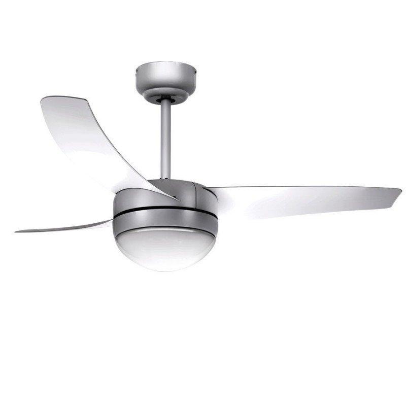 Ventilateur de plafond, moderne, gris ,107 cm. avec lampe, télécommande IR, Facile Silver