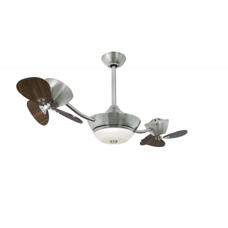 Ventilateur de plafond Efan 107 cm acier satiné , double pales noyer, avec lampe, silencieux et original