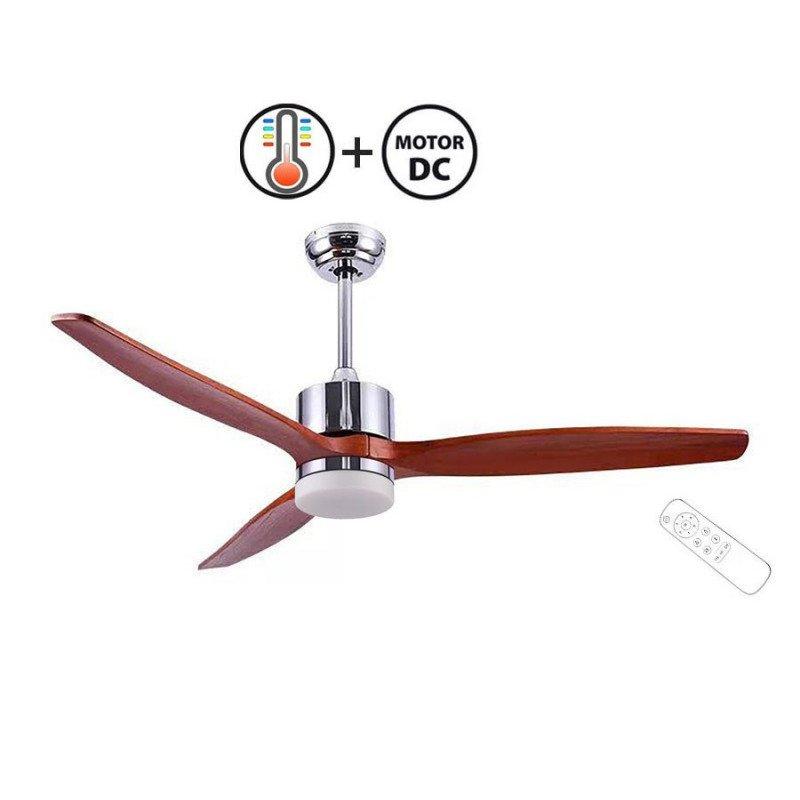 Ventilateur de plafond design bois et chrome satiné, silencieux, DC 130 cm klassfan Taulan