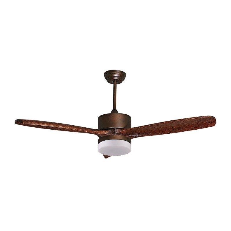 Purline by Klassfan, Hegoa DC Light a destratification ceiling fan blades solid wood 132 cm aged copper motor
