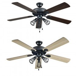 modern ceiling fan blades 132 cm chrome and double side blades maple / gray remote FARO ICARIA 33701