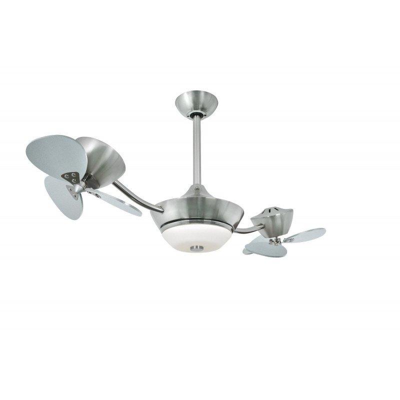 Ventilateur de plafond Efan 107 cm acier satiné , double pales argenté, avec lampe, silencieux et original