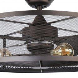 """Ventilateur de plafond avec lumière """"the cage"""" avec télécommande ultra original"""