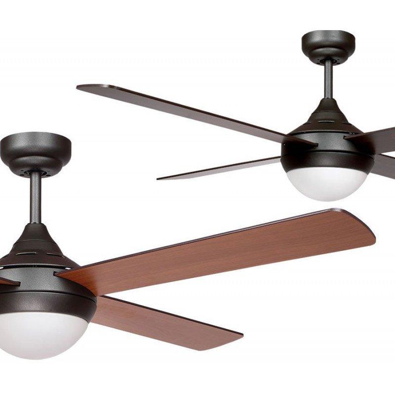 Ventilateur de plafond moderne 122 cm marron et pales bi faces vengé / magahoni avec télécommande