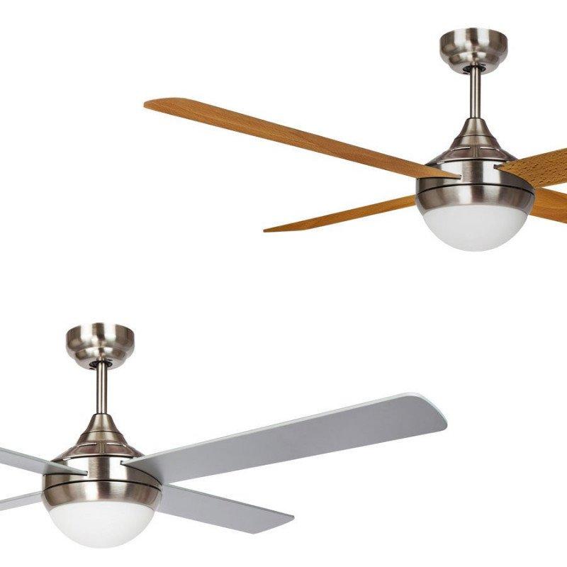 Ceiling fan, modern, 122 cm. chrome, reversible blades - silver gray / light oak